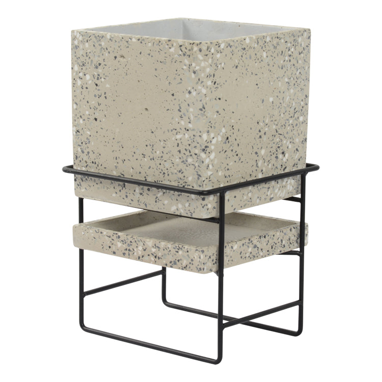Terrazzo Planter Pot with Stand 23.5 x 41.5cm Light Grey