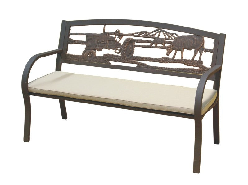Farm Scene Tube Steel Cast Iron Bench