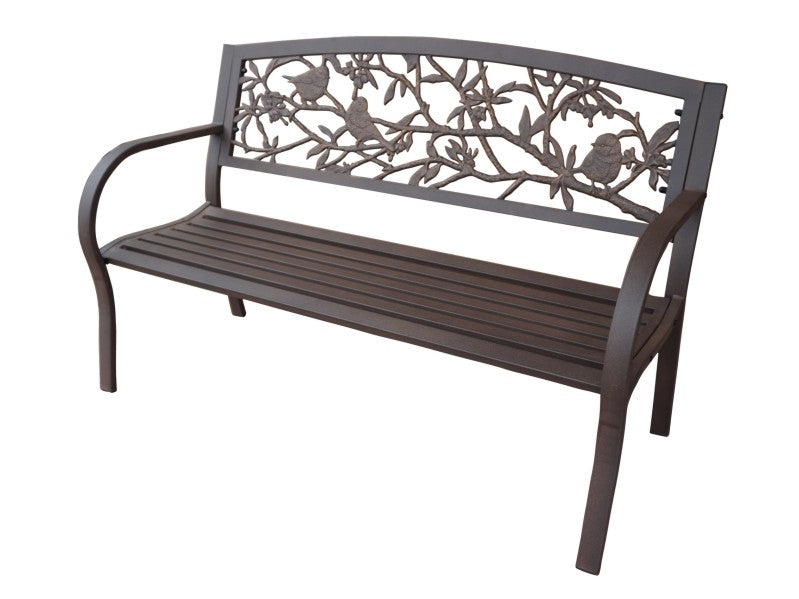 Garden Birds Tube Steel Cast Iron Bench