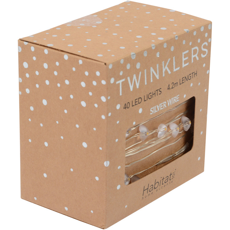 Twinklers Indoor LED 40L Silver Hearts Warm White