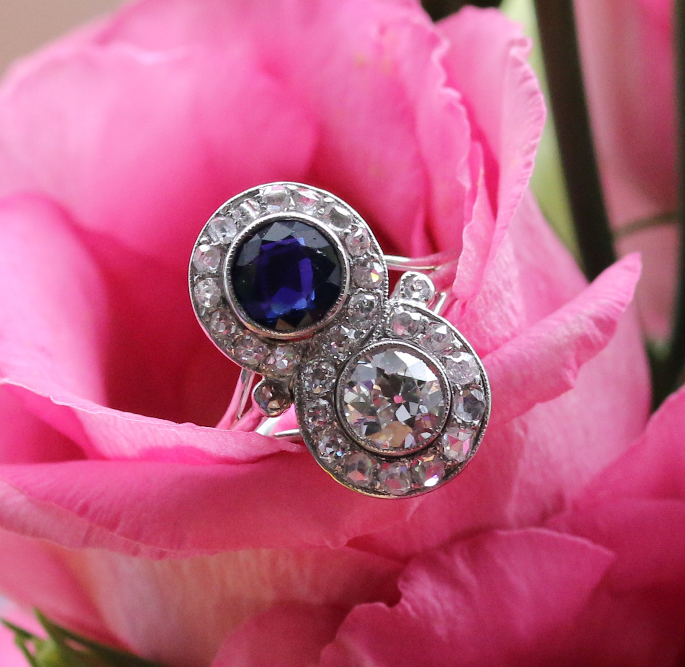 Latest Advert - Platinum Diamond and Sapphire Two Stone Dress Ring