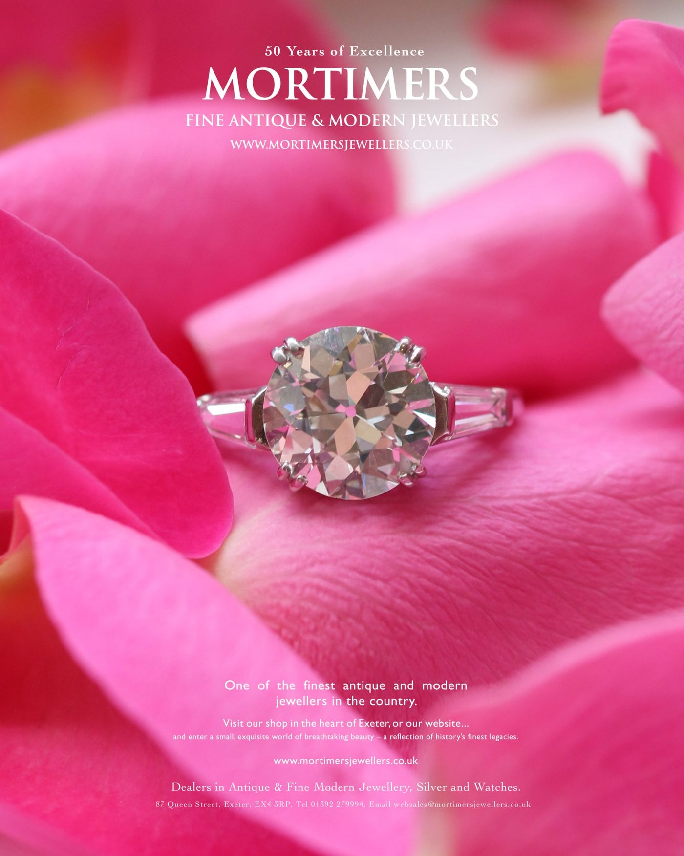 Latest Advert – Platinum Diamond Single Stone Ring with Baguette Cut Shoulders