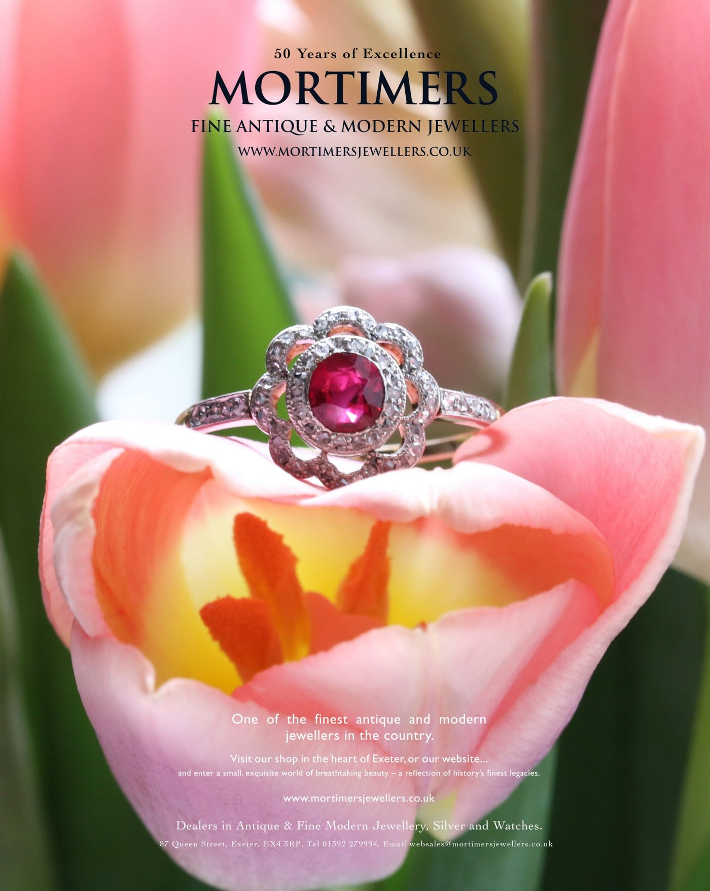 Latest Advert – 18 ct Yellow Gold and Silver Ruby and Diamond Flower Dress Ring