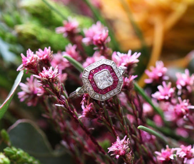 Latest Advert - Platinum Diamond and Ruby Square Dress Ring
