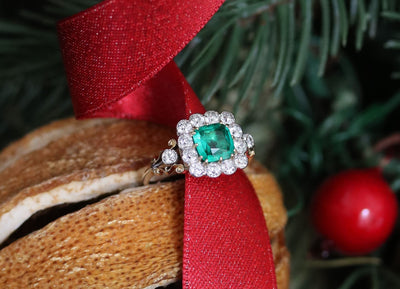 Latest Advert - 18ct Yellow Gold Diamond and Emerald Square Cluster Ring