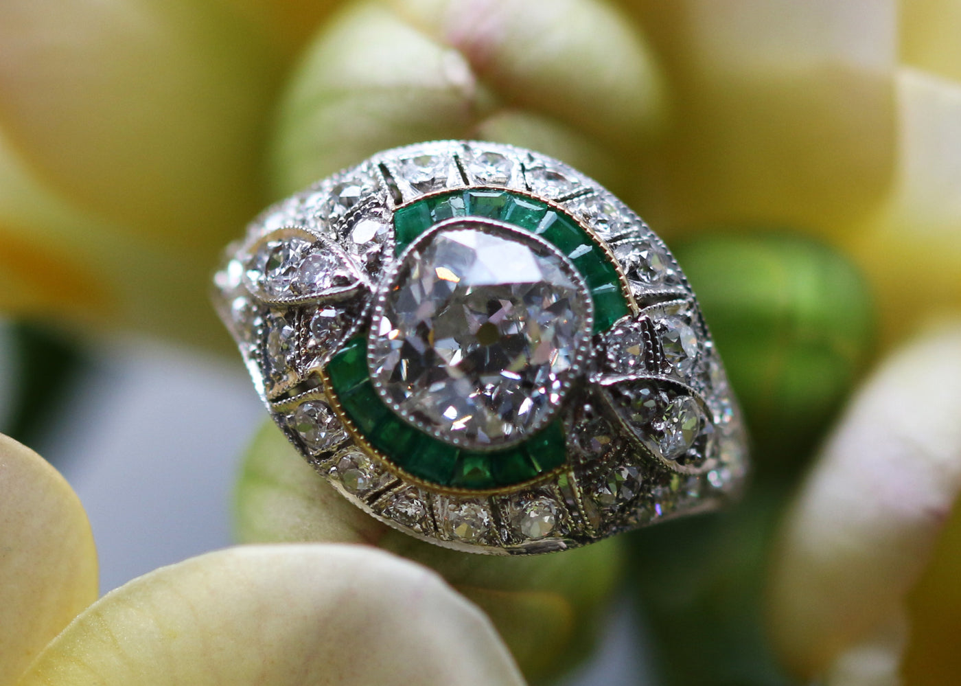 Latest Advert - Platinum Emerald and Diamond Bombe Ring
