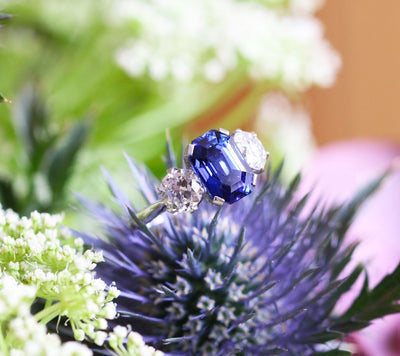 Latest Advert - French Platinum Diamond and Madagascan Sapphire Three Stone Ring