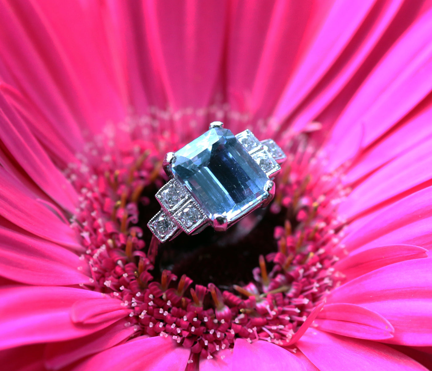 Latest Advert - Platinum Diamond and Aquamarine Dress Ring
