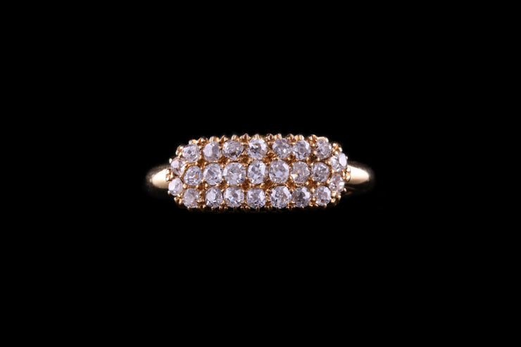 Victorian 18 ct Yellow Gold Diamond Boat Shape Ring