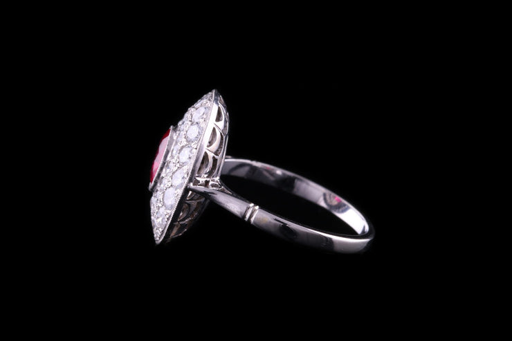 18ct White Gold Diamond and Ruby Cluster Dress Ring