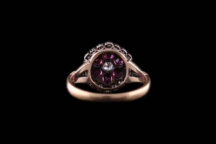 Victorian 18ct Yellow Gold Ruby and Diamond Cluster Ring
