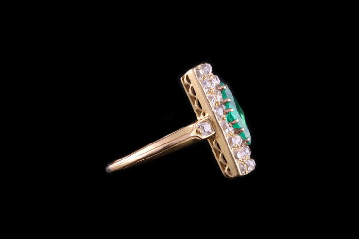 18ct Yellow Gold Diamond and Emerald Dress Ring