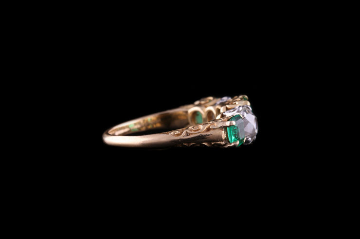 18 ct Yellow Gold Diamond and Emerald Five Stone Ring