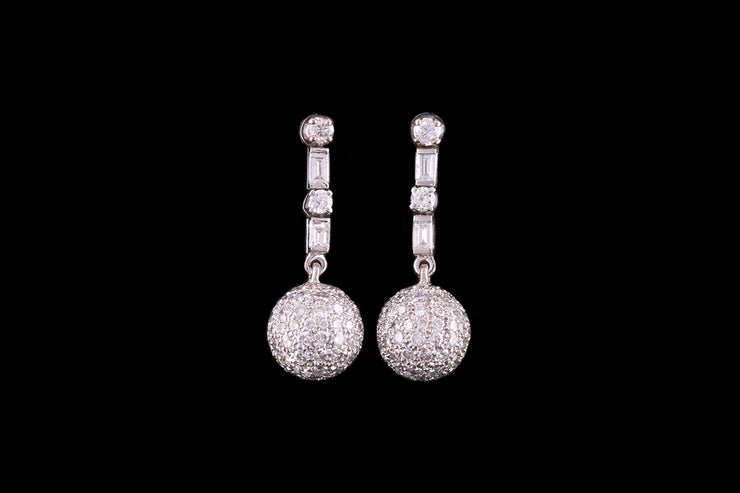 18 ct White Gold Diamond Disco Drop Earrings