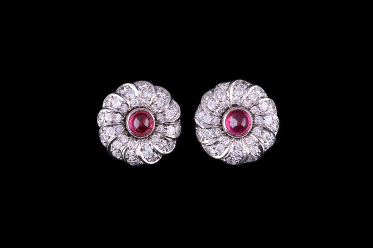 18ct White Gold Diamond and Ruby Swirl Cluster Stud Earrings