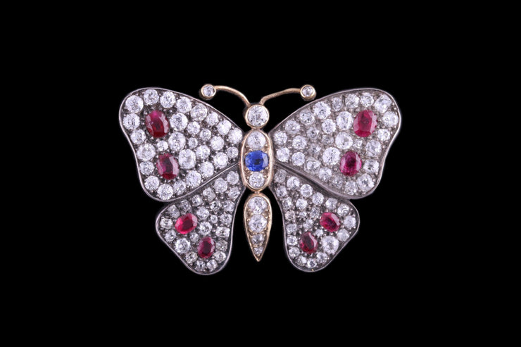 Victorian Silver Set Diamond and Ruby Butterfly Brooch