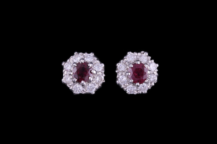 18ct Yellow Gold Diamond and Ruby Cluster Stud Earrings