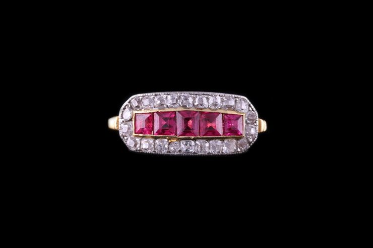 18 ct Yellow Gold Diamond and Ruby Dress Ring