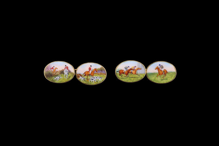 18ct Enamel Racing and Hunting Cufflinks