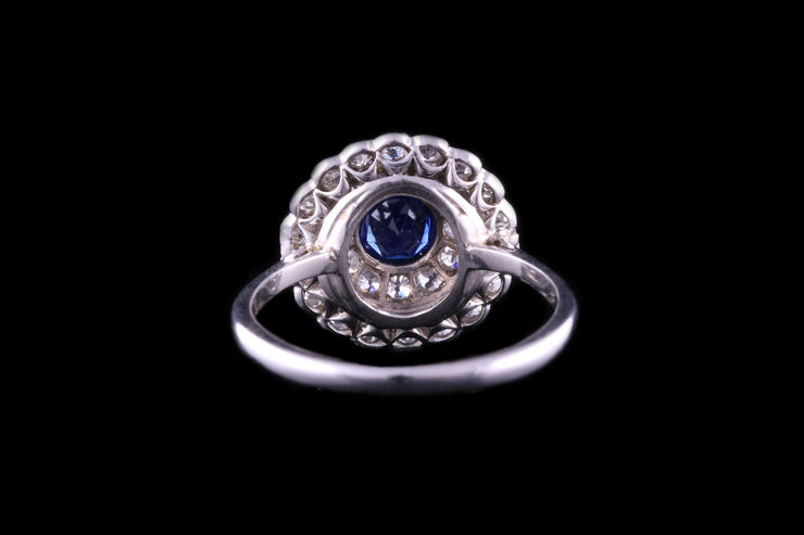Platinum Sapphire and Diamond Double Target Ring