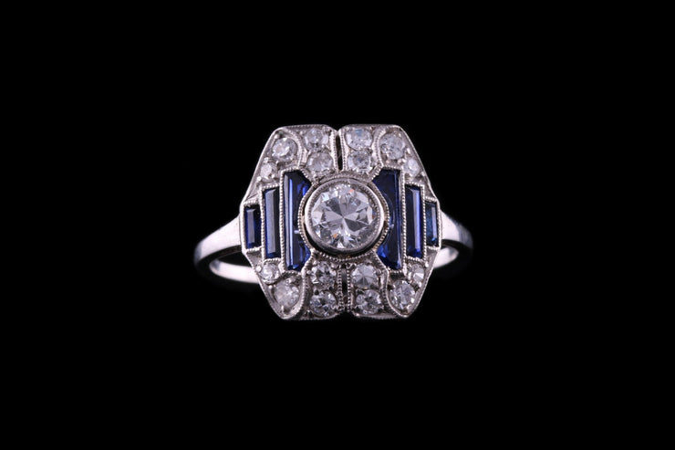 Art Deco Platinum Diamond and Sapphire Dress Ring