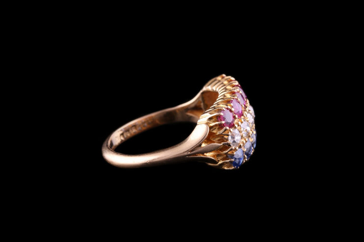 18ct Yellow Gold Ruby, Diamond and Sapphire Triple Row Ring