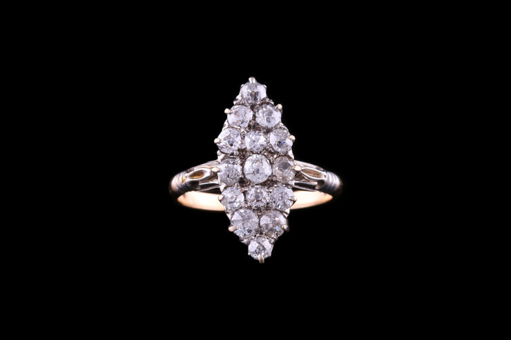 Victorian 18 ct Yellow Gold Diamond Marquise Dress Ring