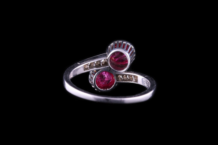 18 ct White Gold Ruby Crossover Ring