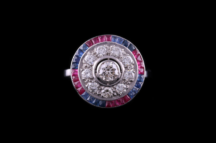 Platinum Diamond, Sapphire and Ruby Target Ring