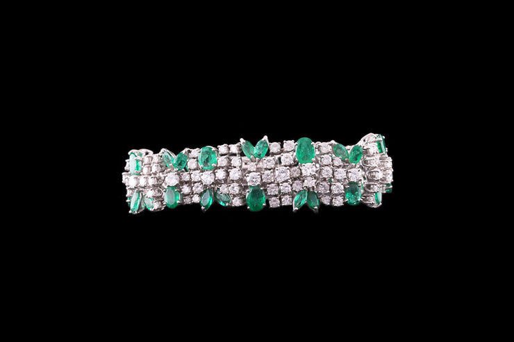 18ct White Gold Emerald and Diamond Bracelet