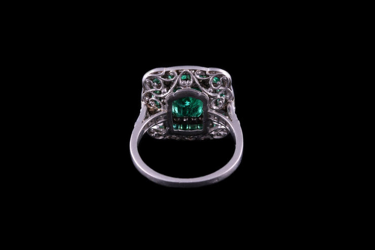 Platinum Emerald and Diamond French Ring