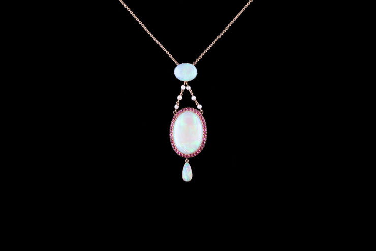 Belle Epoque 18ct Yellow Gold Opal and Ruby Drop Pendant