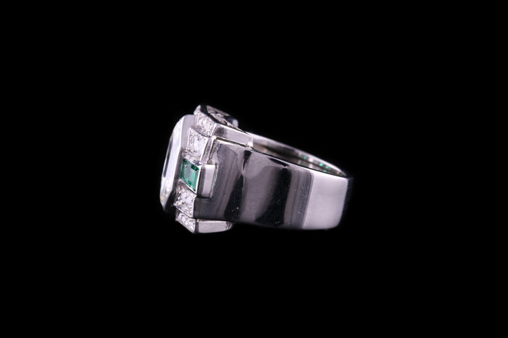 Platinum Diamond and Emerald Dress Ring