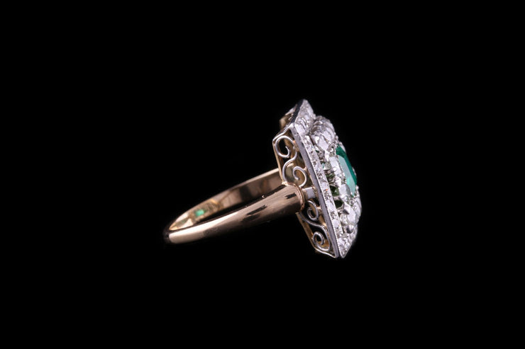 18 ct Yellow Gold Diamond and Emerald Double Row Cocktail Ring