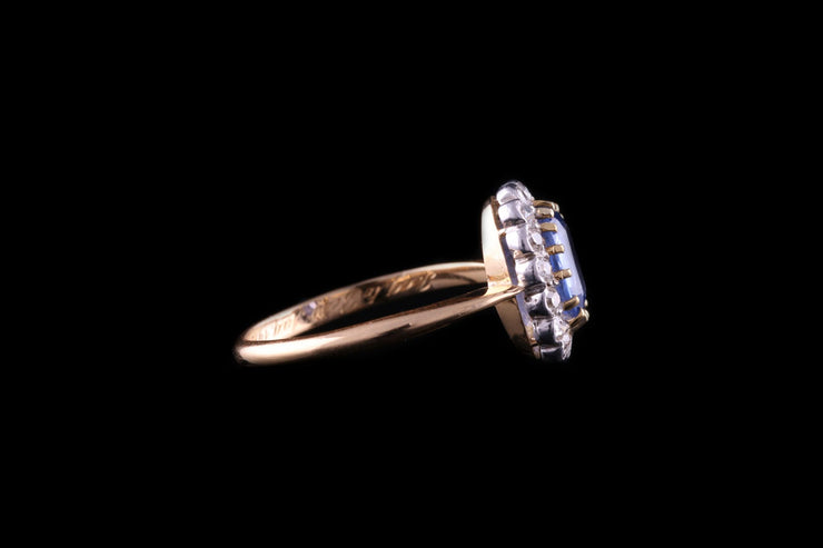 Edwardian 18ct Yellow Gold Sapphire and Diamond Cluster Ring