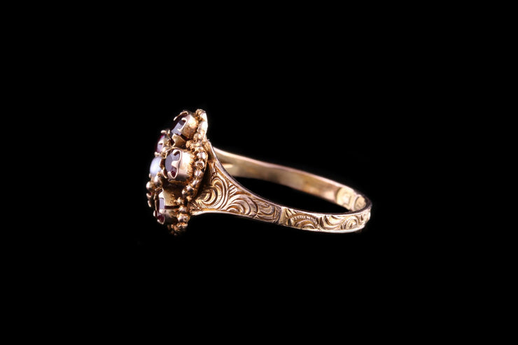 12ct Yellow Gold Pearl and Garnet Flower Ring