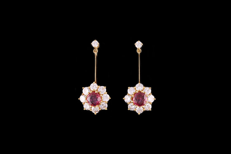 18ct Yellow Gold Diamond and Ruby Cluster Drop Earring