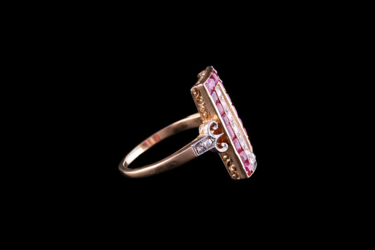 Art Deco 18ct Yellow Gold Diamond and Ruby Dress Ring