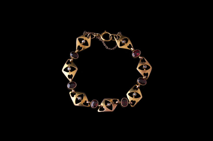 Art Nouveau 9ct Yellow Gold Garnet and Pearl Bracelet