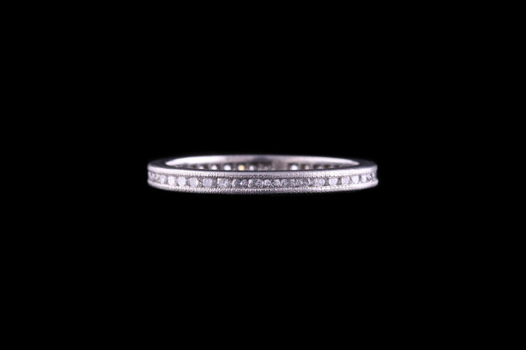 Platinum Grain Set Diamond Full Eternity Ring