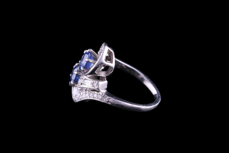 Platinum Sapphire and Diamond Dress Ring