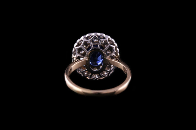 18 ct Yellow Gold and Platinum Diamond and Sapphire Cluster Ring