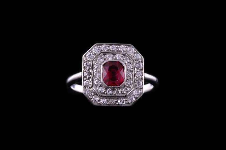 Art Deco Platinum Diamond and Ruby Cluster Ring