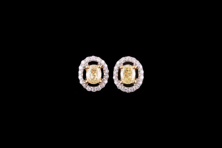 18ct White Gold Yellow Diamond Target Stud Earrings