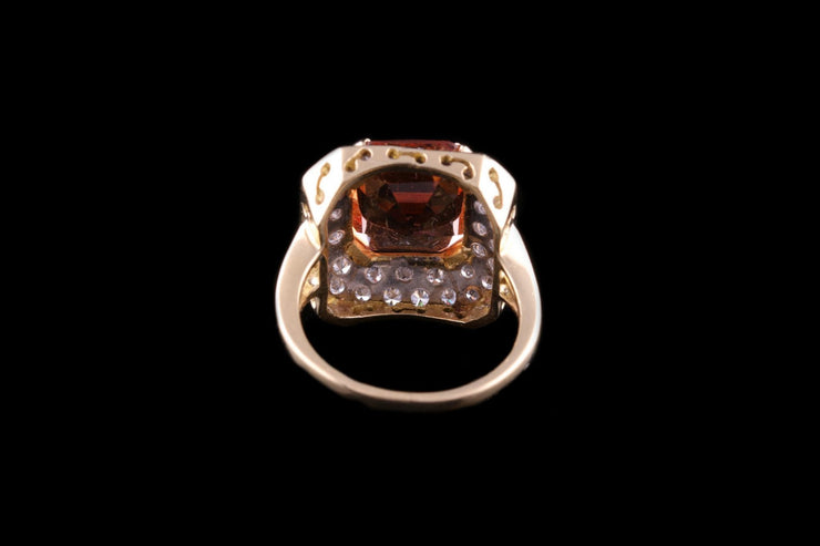 18ct Yellow Gold Diamond and Topaz Dress Ring