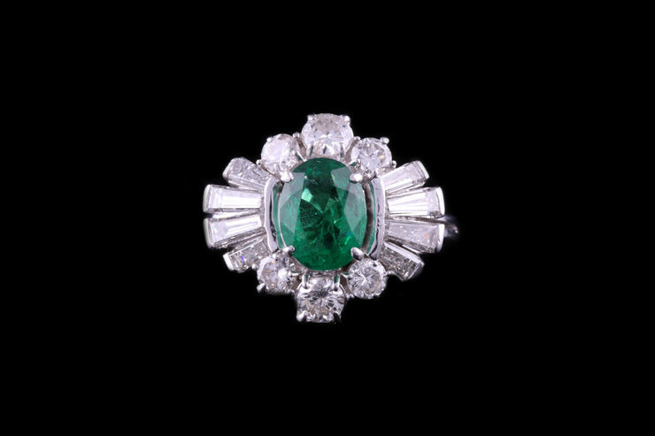 18ct White Gold Diamond and Emerald Cluster Dress Ring