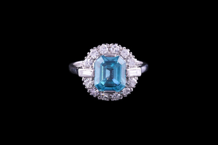 18ct White Gold Diamond and Blue Zircon Dress Ring