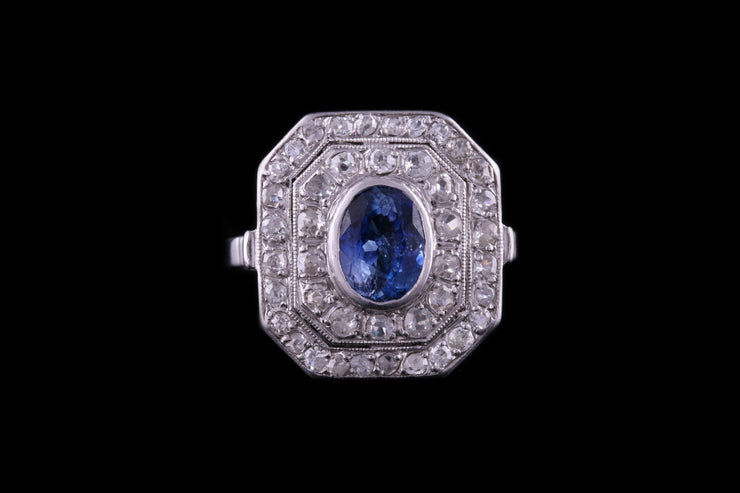 18ct White Gold Sapphire and French Diamond Dress Ring