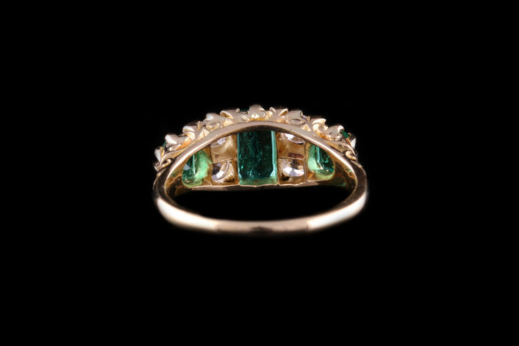 18ct Yellow Gold Diamond and Emerald Seven Stone Ring