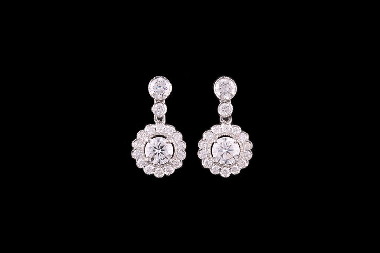 18ct White Gold Diamond Cluster Drop Earrings